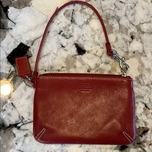 Coach change purse red vintage leather GUC